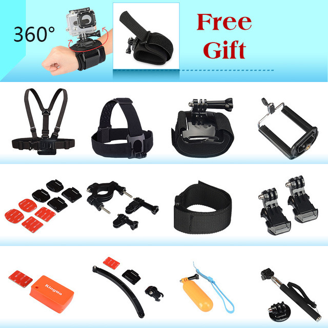 Gopro Hero Accessories Set Helmet Harness Chest Belt Head Mount Strap monopod Go pro hero 4 session 3+ xiaomi yi Sj4000