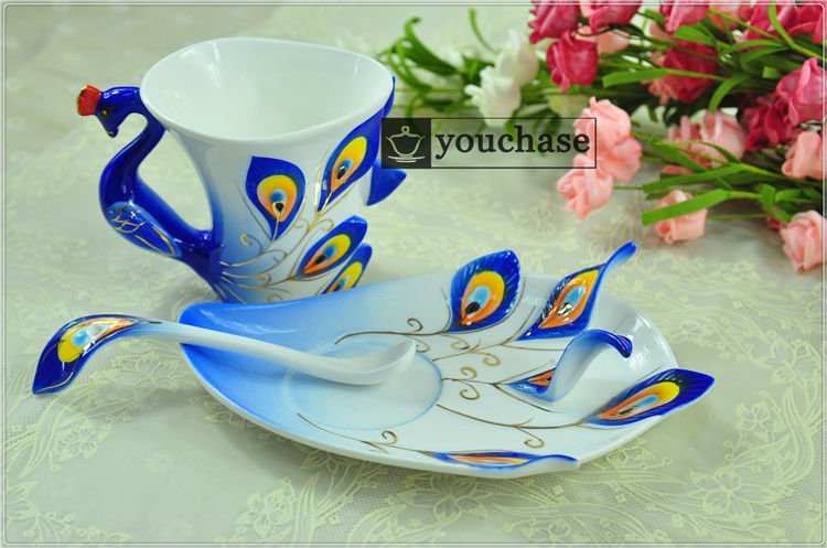 250ML colorful porcelain enamel coffee mug, Peacock design 45% bone china office mug, creative tea cup, 6 colors available!(China (Mainland))