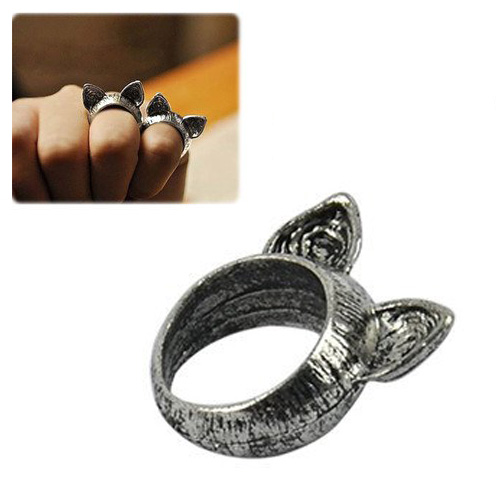 Hot selling 5 x (Practical Superior Beautiful Exquisite Unique Retro Style Cute Cat Ears Ring(China (Mainland))