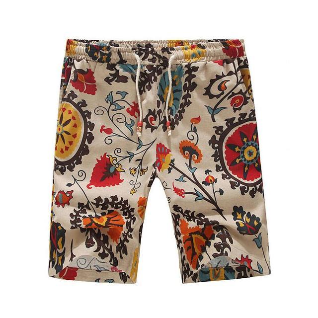 Лето мужские шорты свободного покроя без тары лён печать цветочный бермуды Masculina ...
