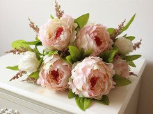 (7 heads/bunch) 2014 New.Silk / Simulation / Artificial flower Peony flower bouquet.Free shipping.(China (Mainland))