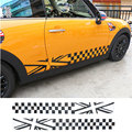 Car side stripes skirt union jack checker flag body decal sticker for mini cooper R55 R56