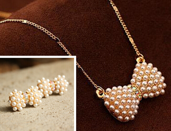 2015 Fashion gold chain plated statement bow crystal rhinestone pearl necklace &pendant earrings jewelry Sets Women girls - Double H Boutique( DHFB store)