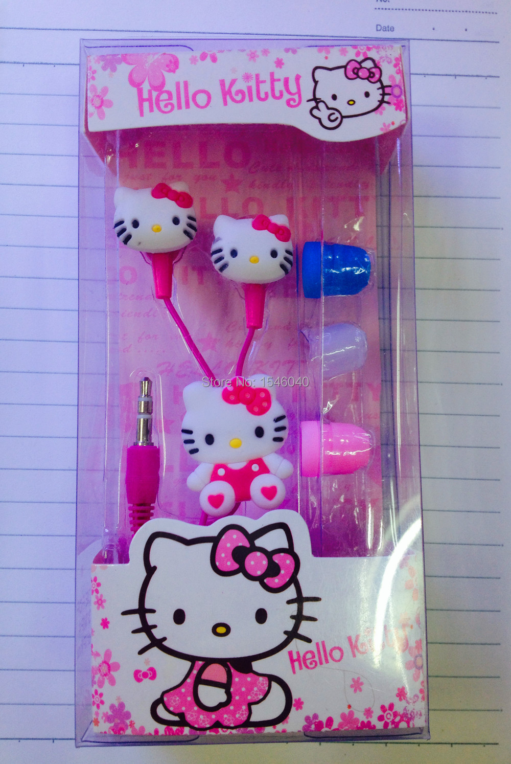 2015 Newest Cartoon hello Kitty 3.5mm jack music headset headphone earphone for iphone 5 6 pad MP3 playback of audio equipment(China (Mainland))