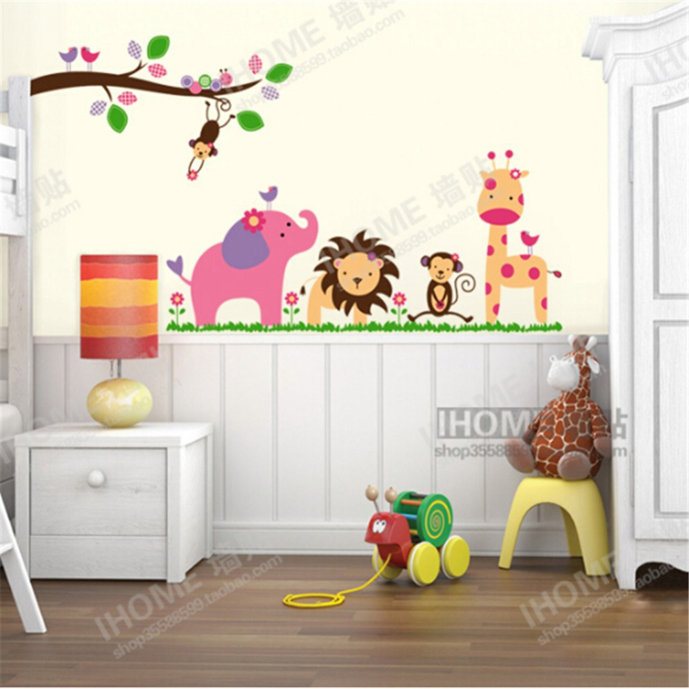 Jungle party pegatinas kids removable vinyl wall stickers for Kids room wall decor