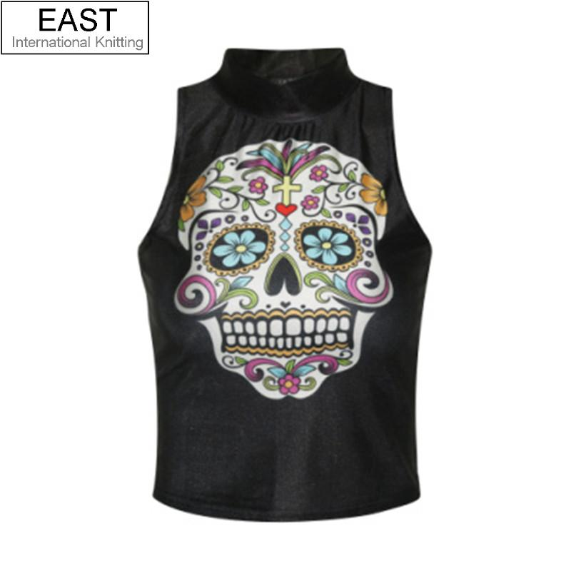 EAST KNITTING F695 New 2015 Black Crop Tops Girl Sexy Skull Turtle Neck Tops Short Summer Tank Tops Drop Shipping(China (Mainland))