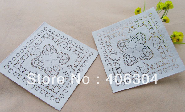 Free shipping, square white paper doilies,10inch=25cm, paper lace doilies/placemat,cake bakey package(China (Mainland))