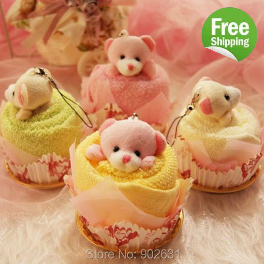 Free Shipping 5pcs Mix Colors For Kids Baby Gift Towel Novelty Craft toallas Cute Small Animal Bear Cake Microfiber Towel(China (Mainland))