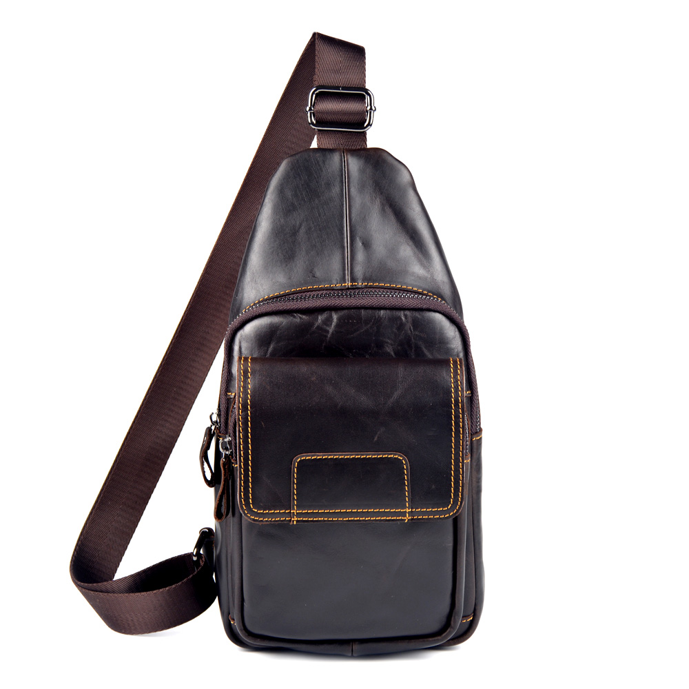 Men bags genuine leather chest pack fashion cowhide wax chest pack large Korean package men messenger bag man mobile bag 2015