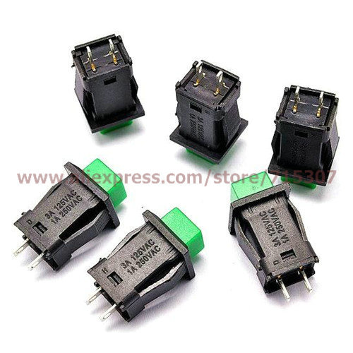 Free shipping 30pcs of Green Self-locking Push Button Switch DS-429A(China (Mainland))