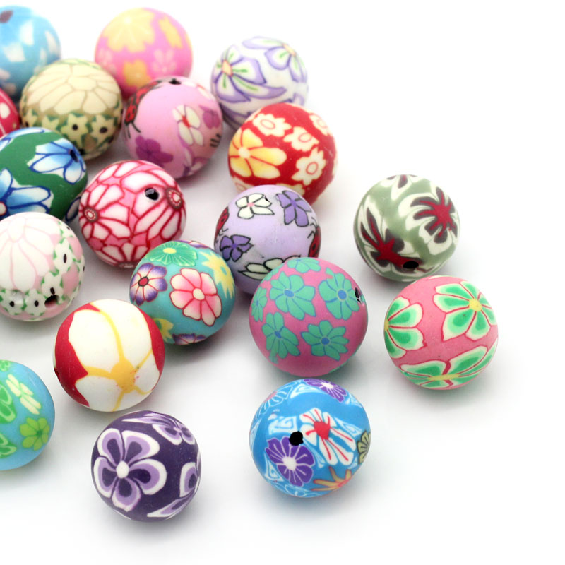 New Brands 30PCs Polymer Clay Spacer Beads Pattern Printed Round Mixed Beads Jewelry For DIY Bracelet &Necklace Gifts Size 4mm(China (Mainland))