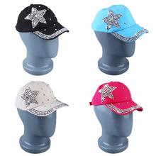 Unisex Shining Stars Simulate Diamond Casual Baseball Cap Trucker Hats Adjustable Backing Cotton Black/Rice white/Rose red/Blue(China (Mainland))
