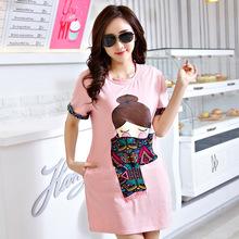 2016 Korea summer cartoon Short Sleeved plus size maternity  t-shirt for pregnant women maternity tops(China (Mainland))