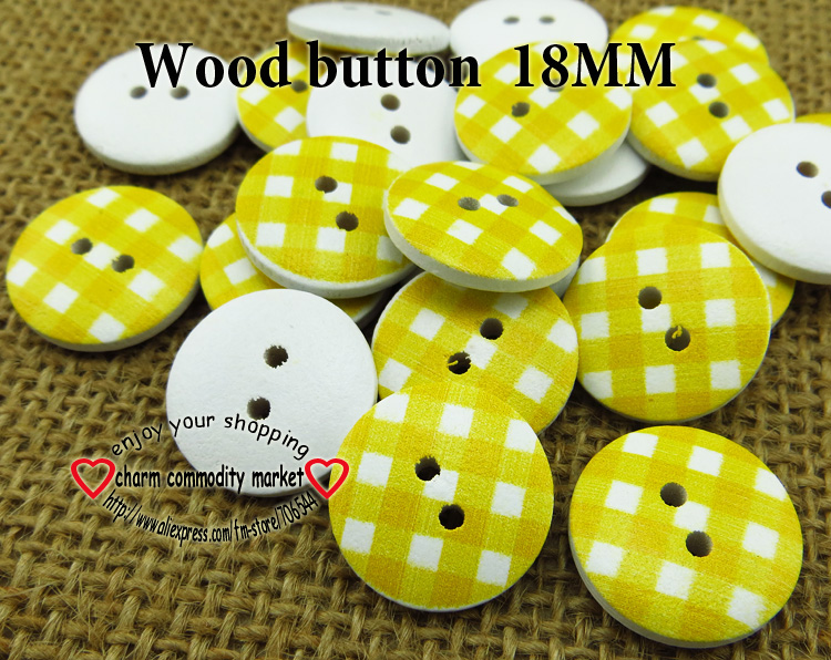 wholesale (100pcs/lot)yellow stripe wooden buttons for baby hat 18MM MCB-747-1(China (Mainland))