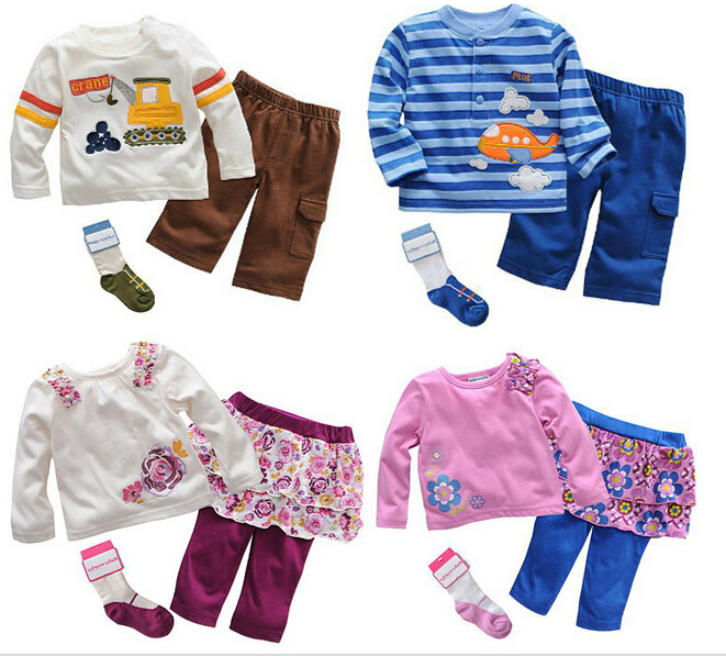 Free shipping 6 sets/lot BaByworks Brand Boy and Girl Long Sleeve T-shirt+Pants+Socks Cotton Outfit Monkey Car Animal Outfit(China (Mainland))