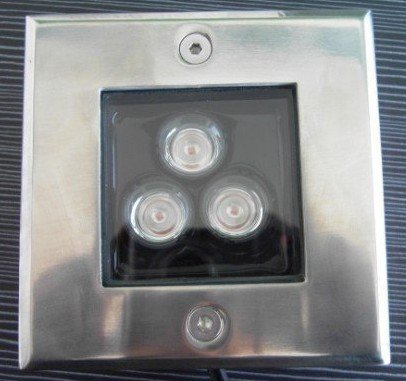 3*1W high power led underground light,DC12V input,IP68,size:105*105*60mm;open hole:95*95mm