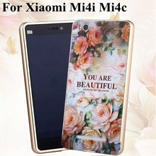 Mi4i 3D Embossing Relief Patterns Armour Case For Xiaomi m4i mi4c Aluminum Bumper + PC Back Cover Mobile Phone Metal Frame cover