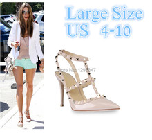 New 2104 Hot Women Pumps Ladies Sexy Pointed Toe High Heels Fashion Buckle Studded Stiletto High Heel Sandals Shoes Large Size(China (Mainland))