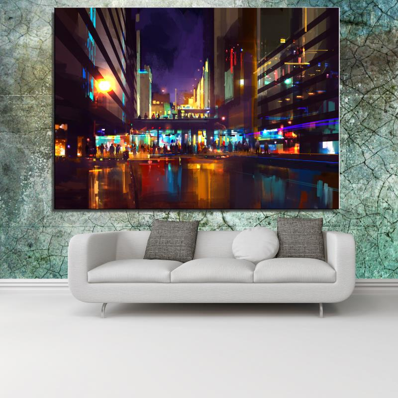 City Street Market Landscape Classical Canvas Spray Home decor Oil Painting Frameless drawing Realistic airbrush picture(China (Mainland))