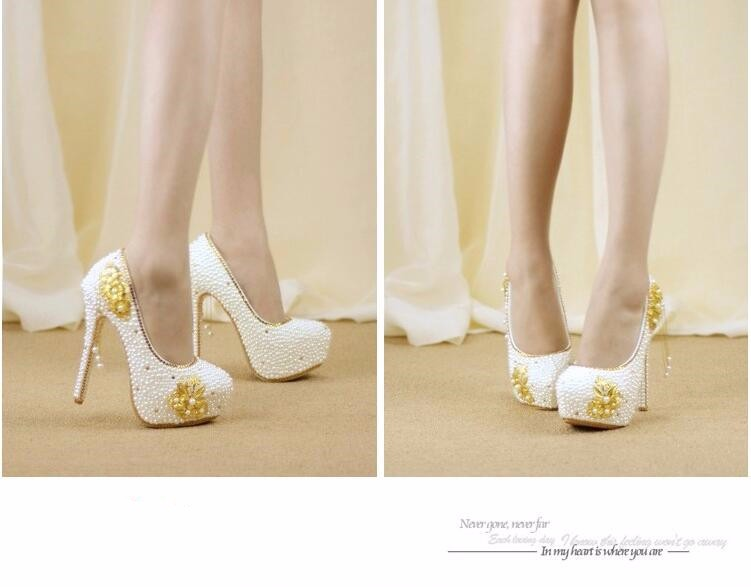 New Gold Rhinestone Pearl bridal shoes High heel shoes women's Fashion Bride Party/wedding handmade Shoes free shipping