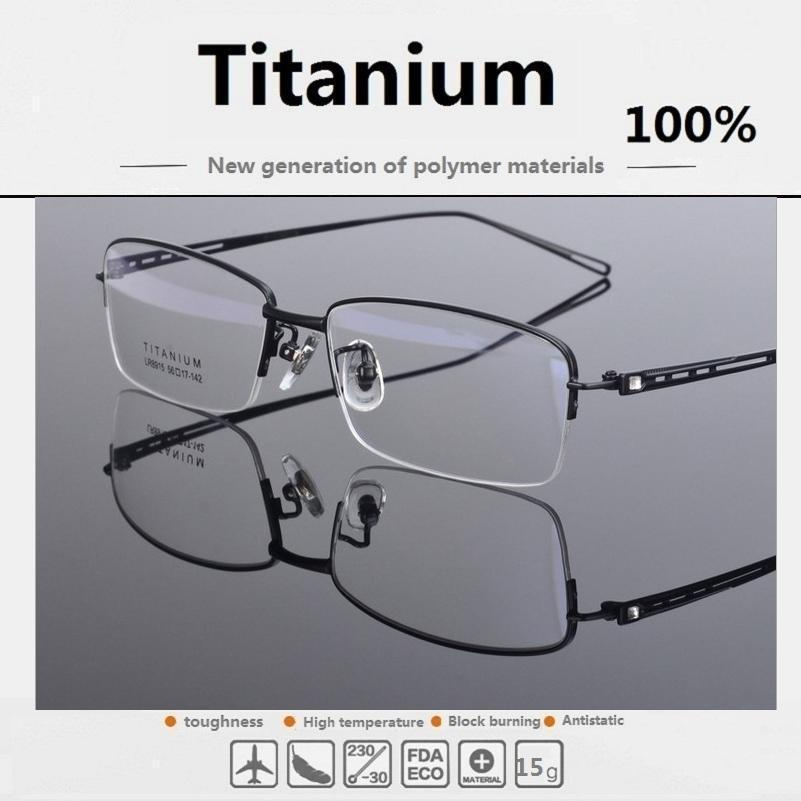 The new pure titanium glasses frame lightweight men half ...