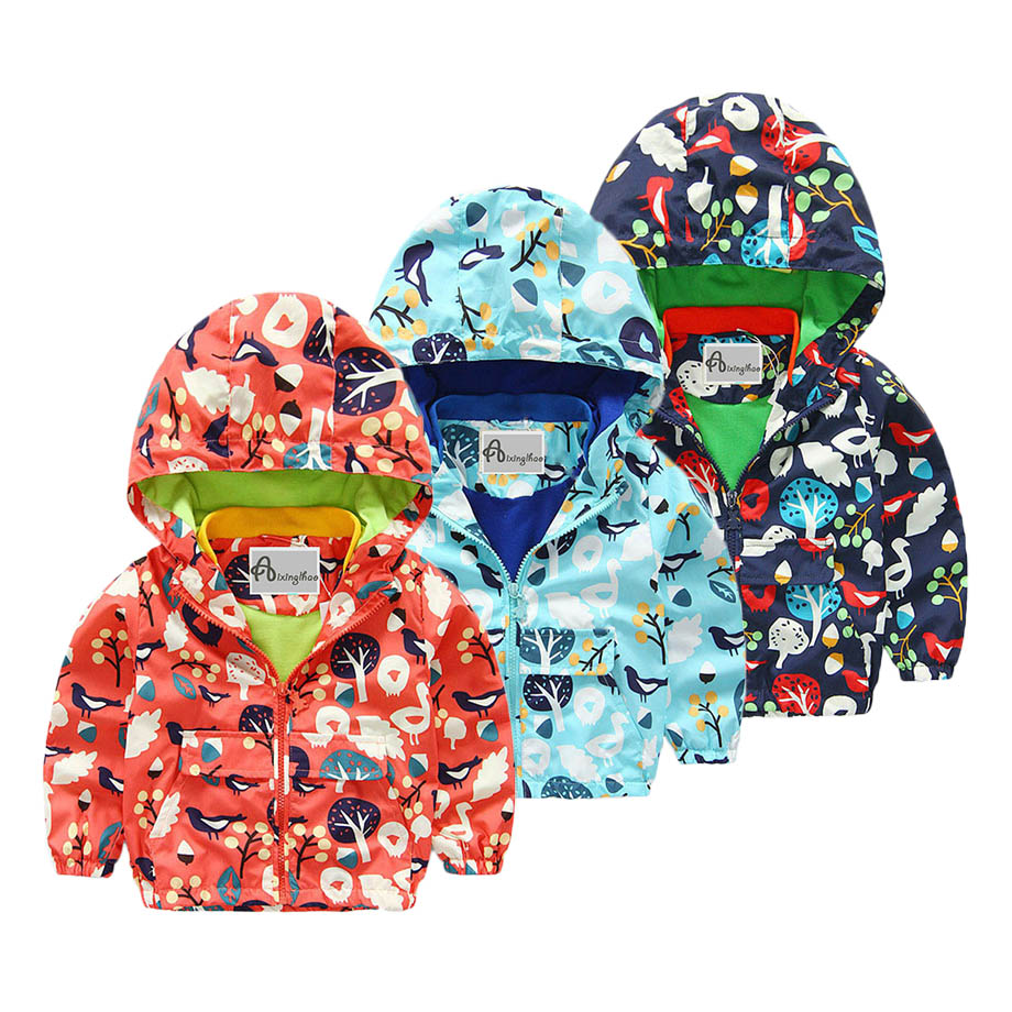 Children Jackets For Boys 2016 Spring Autumn Hooded Printed Tree Baby Boys Outerwear & Coats 2-10 Years Kids Windbreaker Clothes(China (Mainland))