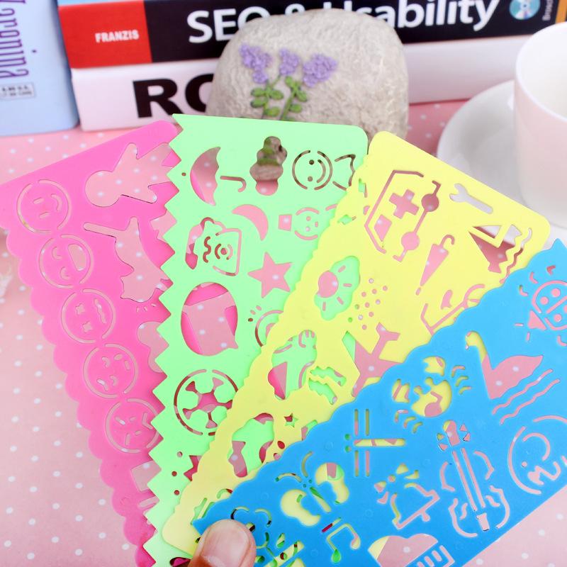4pcs/Set Cute Art Graphics Symbols Drawing Template Ruler Student Kids Stencil Rule stationery 2015 Hot(China (Mainland))