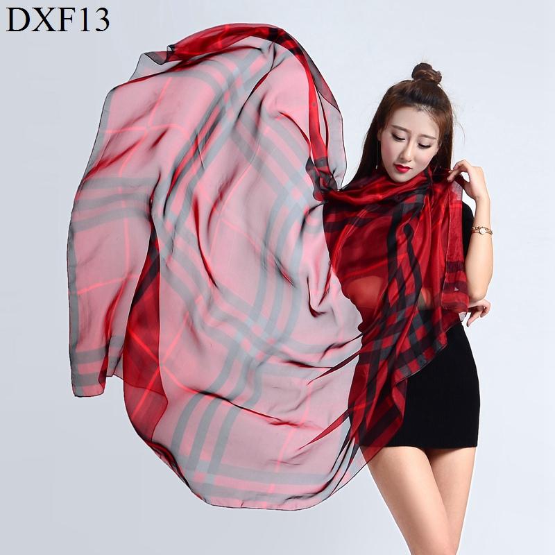 2017 Luxury Scarf Women  silk chiffon Shawls and Scarves Plaid thin Wrap  Printing spring summer Winter Scarf  Beach Cover-ups