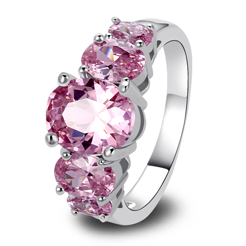 New Fashion Jewelry 925 Silver Ring Pink Sapphire Exquisite Gift For Women Size 6 7 8 9 10 11 12 13 Wholesale Free Shipping(China (Mainland))