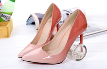 2015 Newest Classics Spring Women Fashion High Heels Pumps Sexy Spell Color Gradient Sharp Pointed Shoes Party Shoes Woman(China (Mainland))
