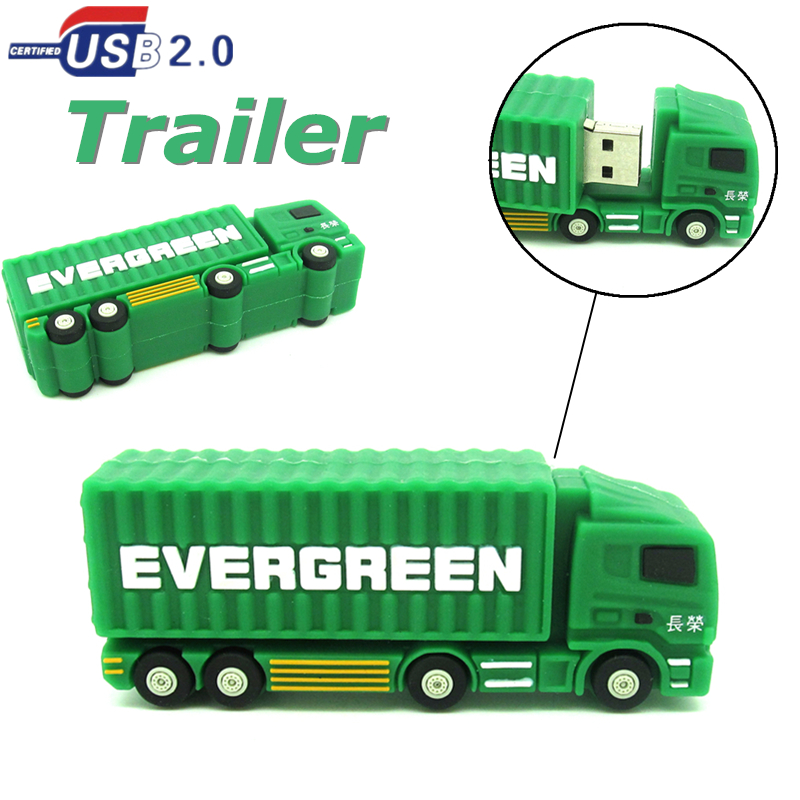 mini trailer cargo truck USB Flash Drive green Container car Pen Drive 32GB 16GB 8GB 4GB PenDrive USB 2.0 U Disk real capacity(China (Mainland))