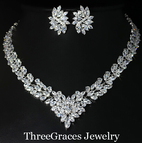 Nigerian Women Leaf Shape Cubic Zircon Synthetic Diamond Big Bridal Necklace Earrings Jewelry Set Wedding Dress JS047 - ThreeGraces Outlet Store store