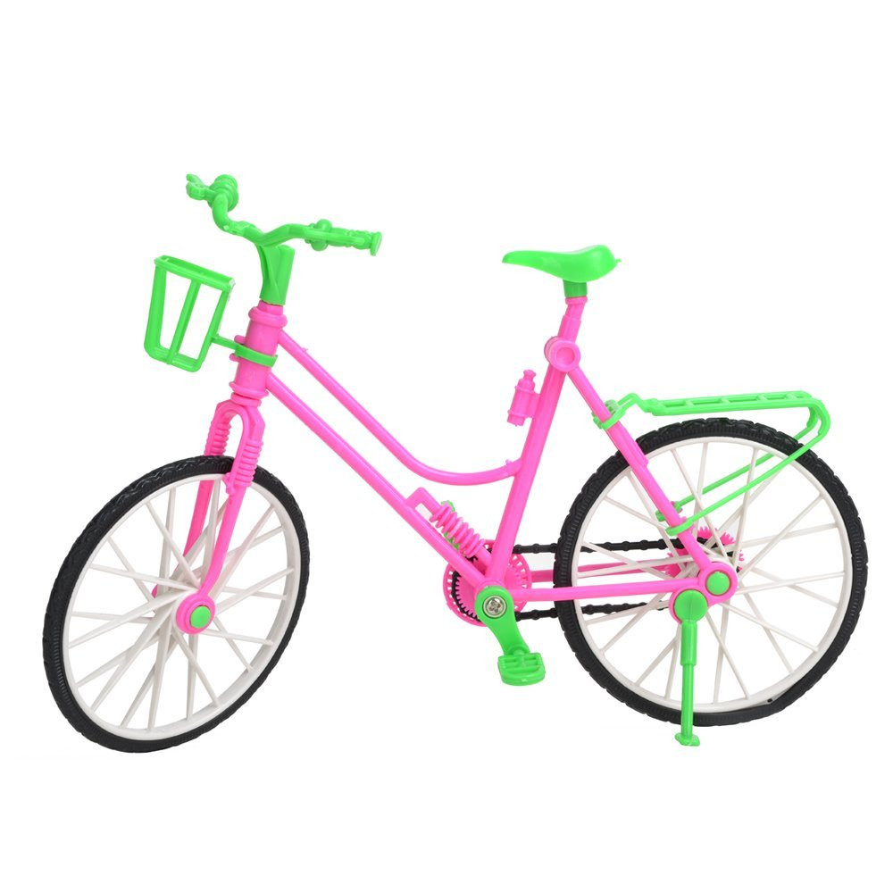 Plastic Inexperienced  Removable Bike Toy Bicycle With Basket For Barbie Doll Nice Present Toys For Kids Scorching Promoting