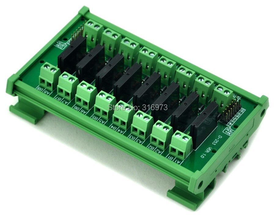 Din Rail Mount 8 Channel Ssr Solid State Relay Interface