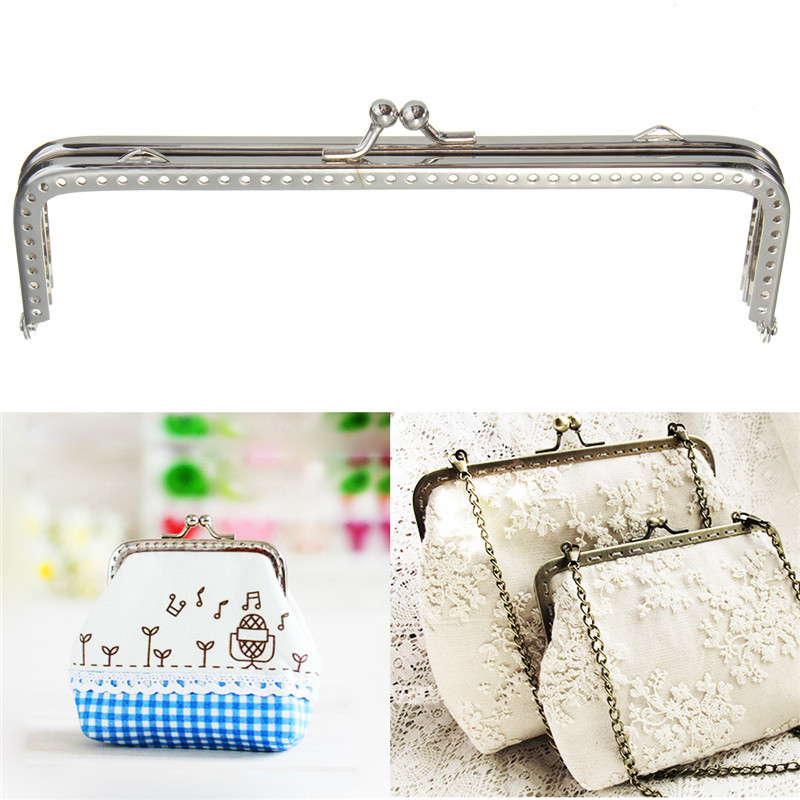 Wholesale New Cute Metal Silver Sewing Handbag Handle Clutch Coins Purse Frame Kiss Clasp Arch For Bags 15cm Accessories(China (Mainland))