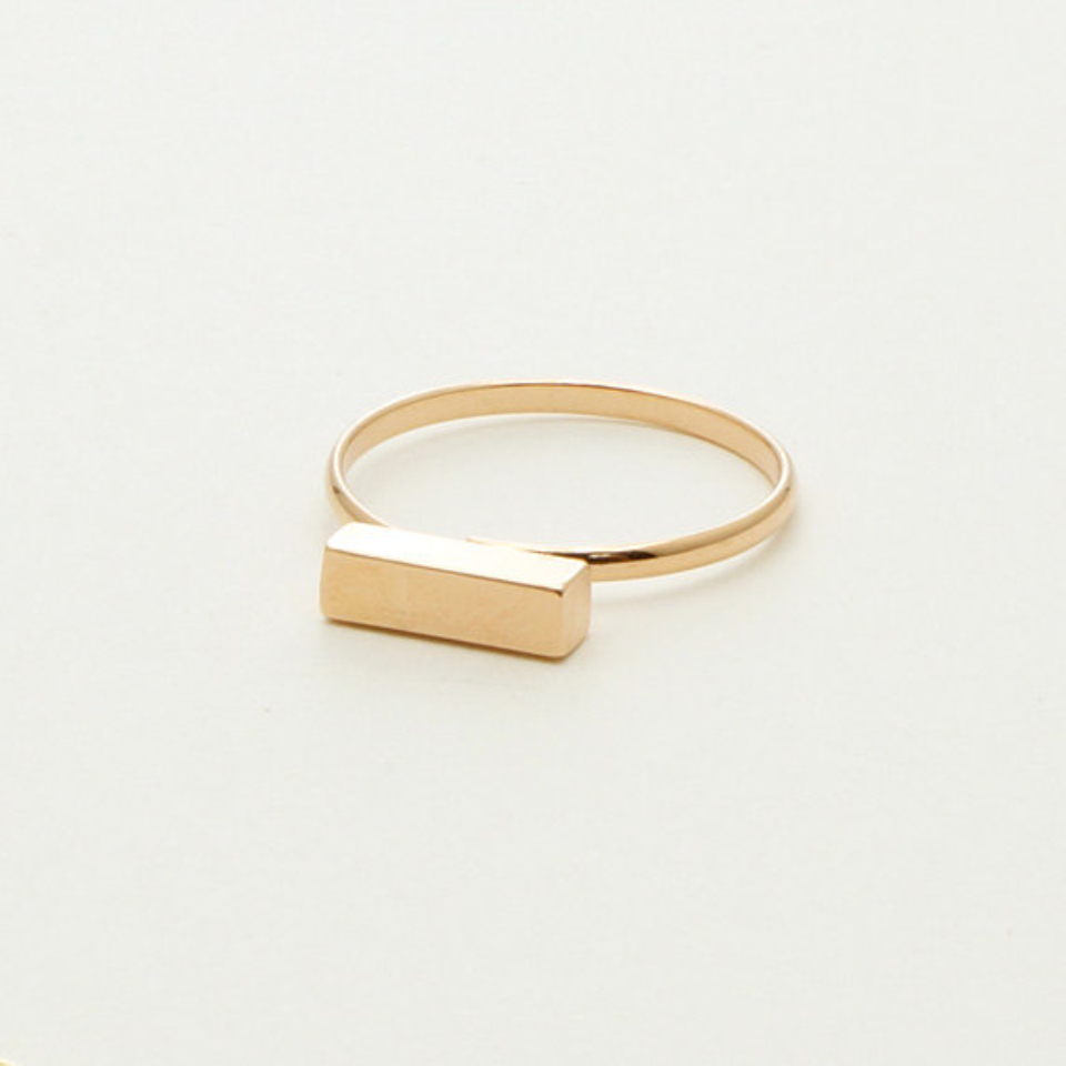 jewelry stainless steel ring tiny square bar