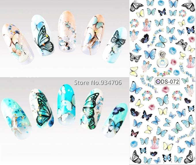 DS072 2017 Nail Design Water Transfer Nails Art Sticker Colored Butterfly Nail Wraps Sticker Watermark Fingernails Decals(China (Mainland))