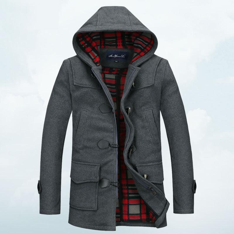 2014 Single breasted hooded mens trench coat men's pea coats windbreaker winter black /gray trench FPS923(China (Mainland))