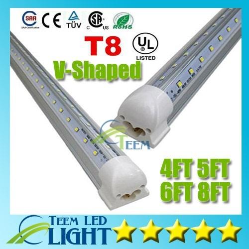 8 Ft 2 Lamp Fluorescent Strip Light White No Ssf2964wp 8ft: V Shaped T8 Integrated Led Tube Light 8FT 65W 6FT 42W 5FT