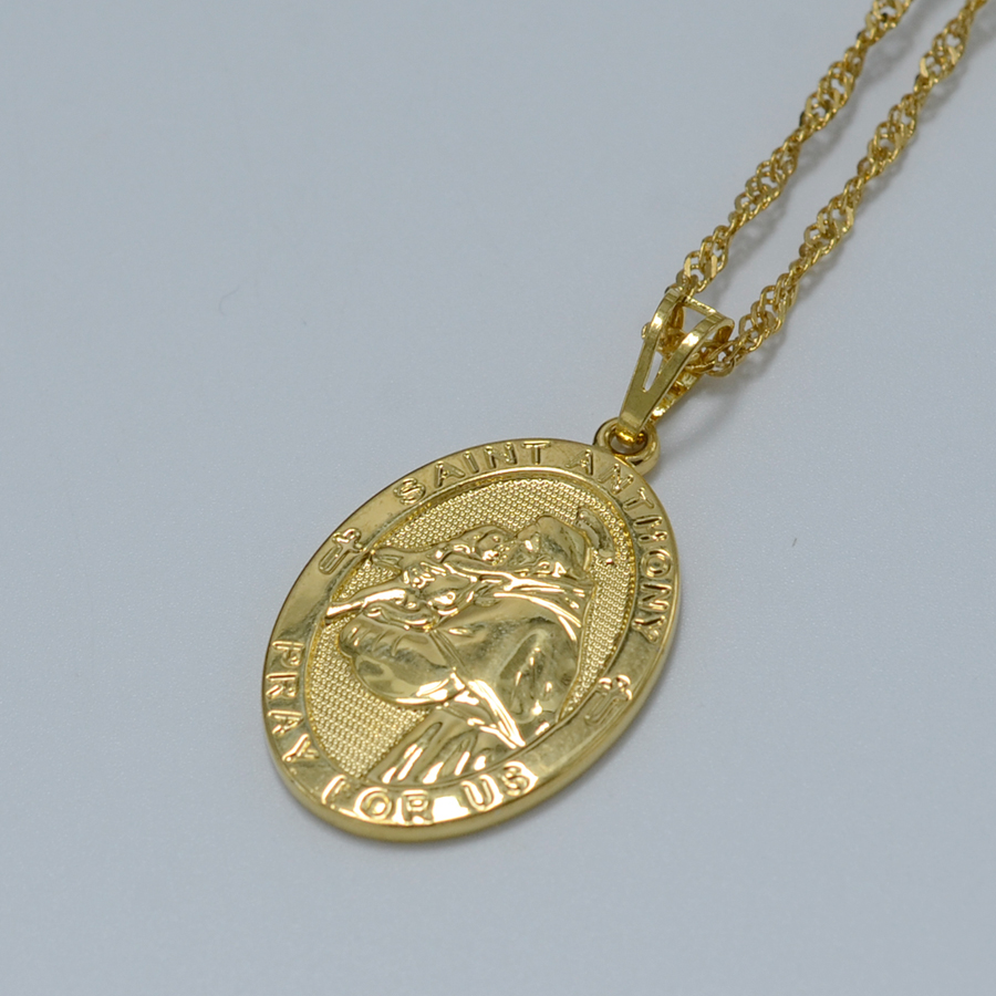 SAINT ANTHONY PRAY FOR US Pendant & Necklace Women 18k Gold Plated st.Anthony Necklaces Jewelry(China (Mainland))