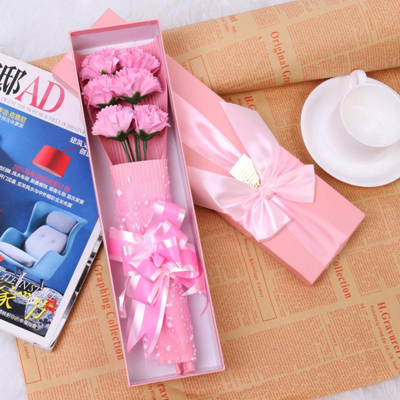 6pcs Carnation Soap Flower with Gift Box Birthday Teacher's Mothers' Day Romantic Wedding Scented Essential Oil Set Bath(China (Mainland))