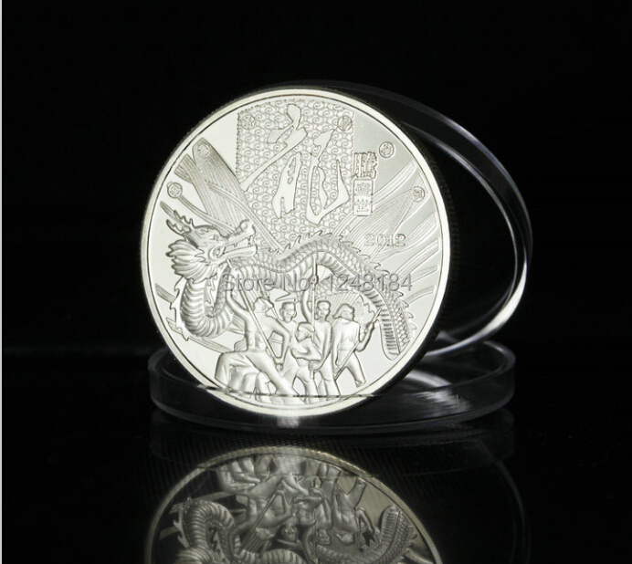 20pcs/lot,Wholesales silver plated Dragon Chinese LUNAR Calendar Round Souvenir Coins(China (Mainland))