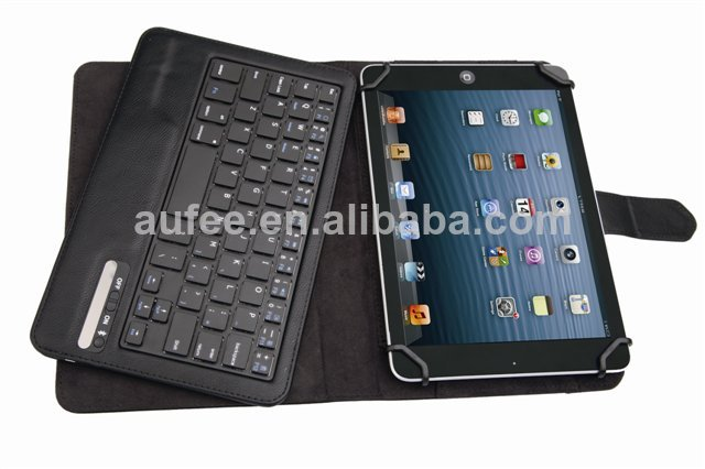 snap-in type HOT SALE Bluetooth wireless keyboard universal type for 9-10 inch tablet with detachable leather case free shipping(Hong Kong)