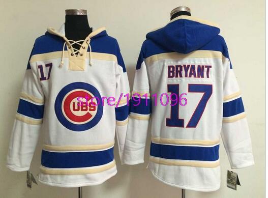 Baseball Hoodie 2015 New Chicago Cubs #17 Kris Bryant White Baseball Hockey Hoodie Size M-XXXL