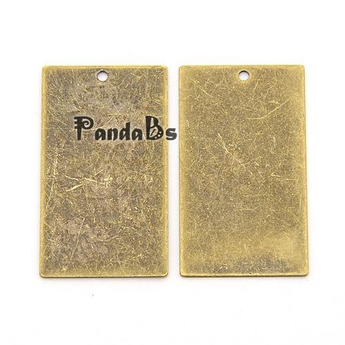 Metal Tags, Brass Blank Stamping Tag Pendants, Rectangle, Antique Bronze, 32x18x0.3mm, Hole: 1mm(China (Mainland))