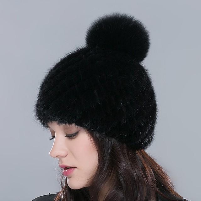 Горячие продажи реального норки меховая шапка для зимы женщин трикотажные норки шапочки ...