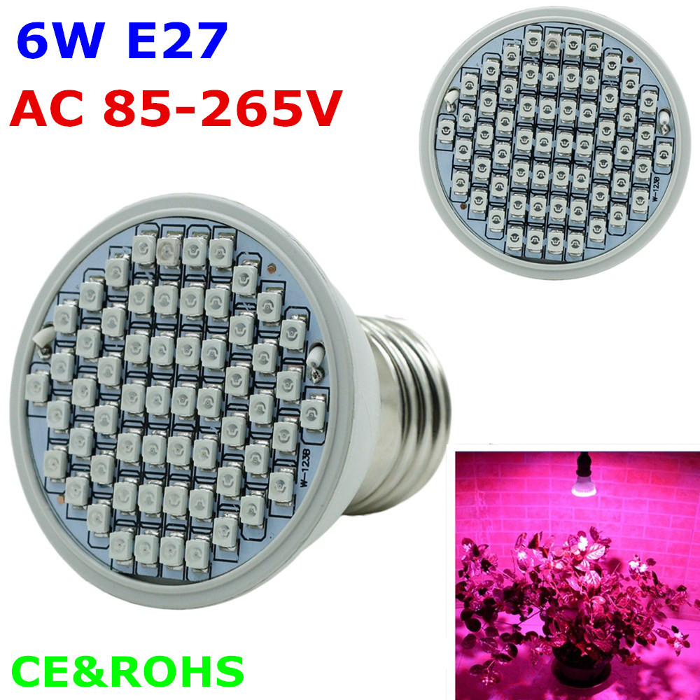 E27 6W  LED Plant Grow Plants Light 44Red + 16Blue 2835SMD leds AC85-265V Horticulture Hydroponic System with Full Spectrum<br><br>Aliexpress