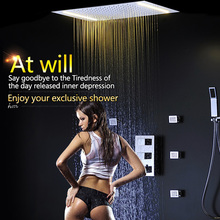 3 jets Thermostatic Mixer Shower Set 2 LED Lights Modern Luxury Large SUS304 Waterfall Rainfall Bathroom body jet massage - goodshower store