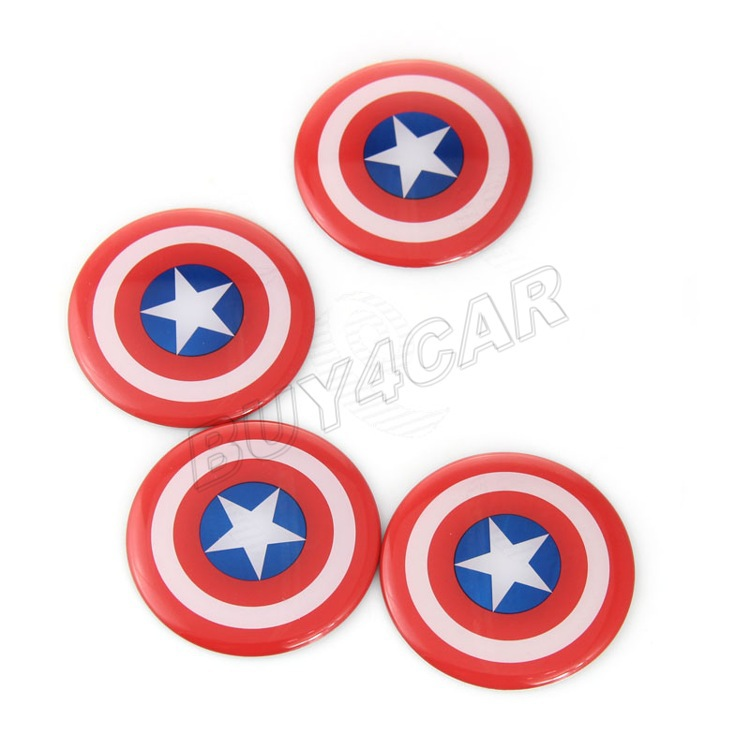 High Quality Aluminium Alloy and Plastic Coating 3D Captain America Emblem Car Auto Steering Wheel Center Hub Cap Stickers #5167(China (Mainland))