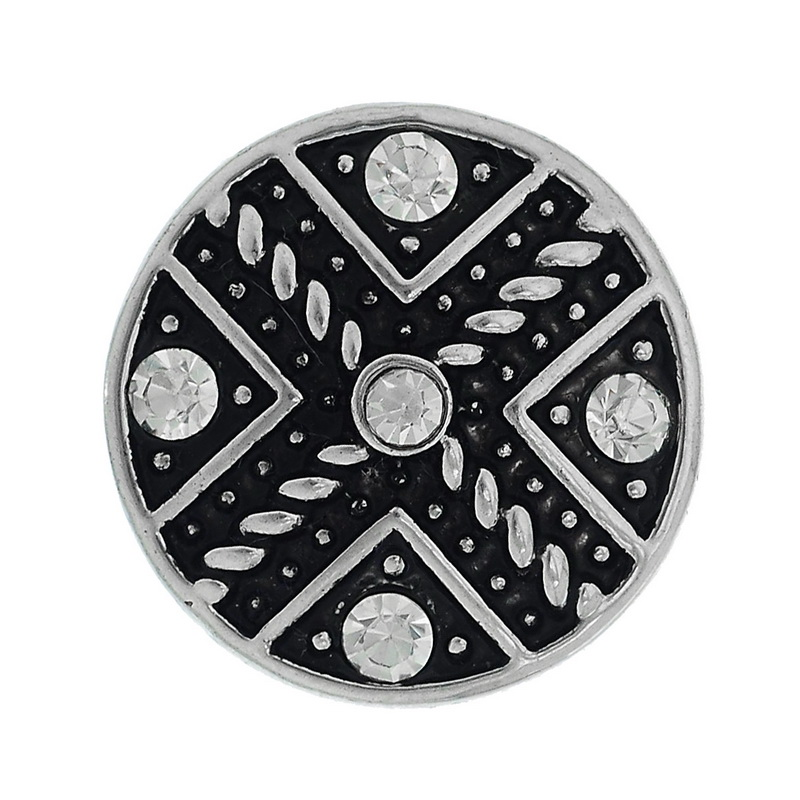 New Arrival Hot 2x1PC Snap Button Fit DIY Bracelets Cross White Rhinestone Round 19.5mm(China (Mainland))